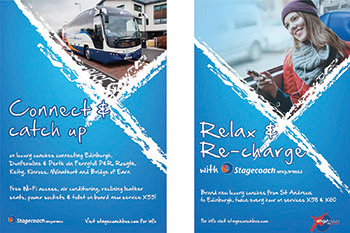 Attractive posters used by Stagecoach to promote the Express City Connect network in Scotland.