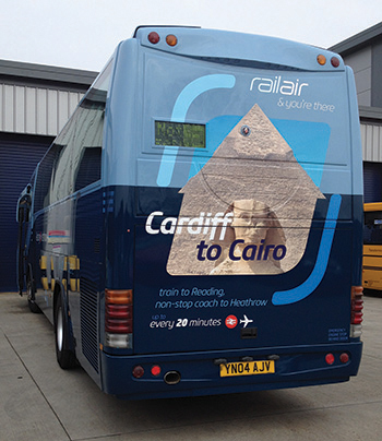 Attractive coach rears used to promote RailAir and reaching to Heathrow by public transport.
