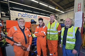 Members of the team who keep the fleet at National Express on the road.