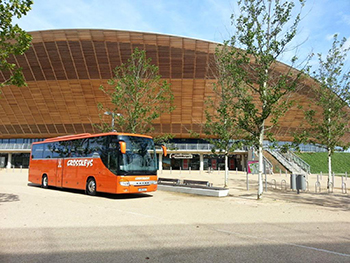 One of the fleet run by Folkestone-based Crosskeys Coaches pictured in the Olympic Park in London.
