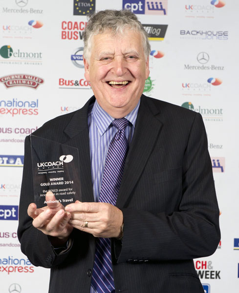 Tony Bamber collects a Gold Award for Safety Innovation at the 2014 awards