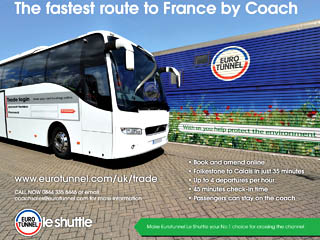 A coach lines up to board Le Shuttle